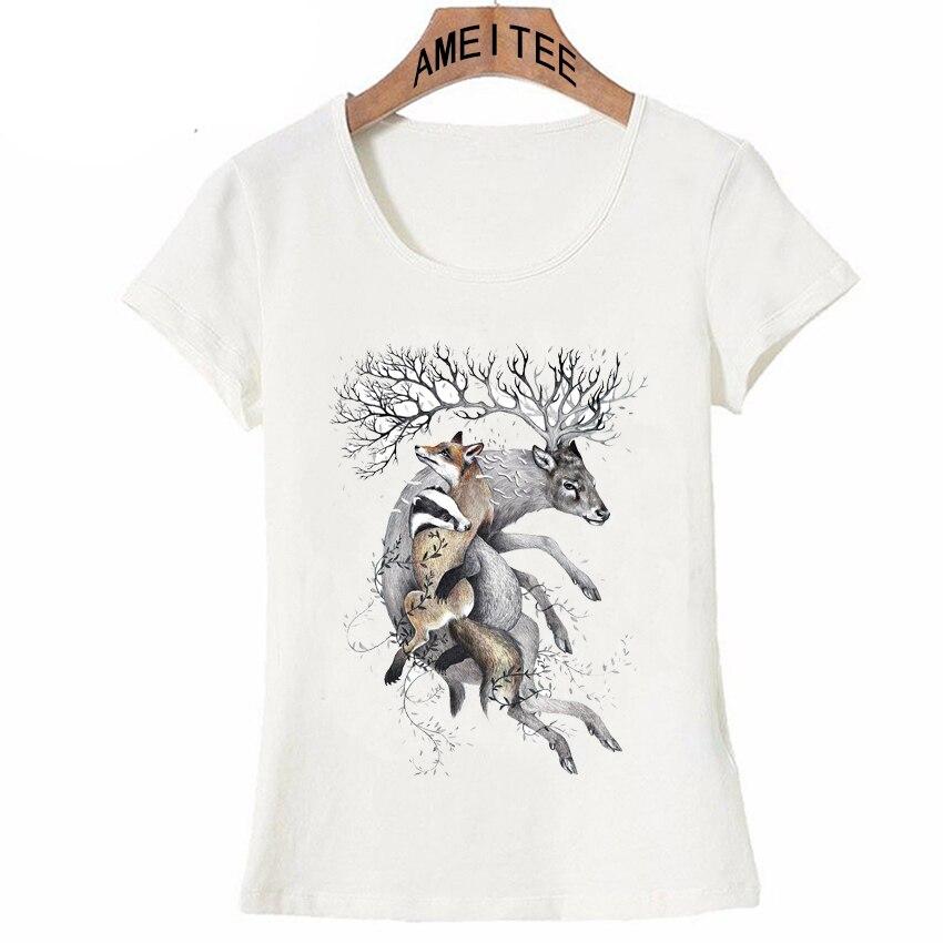 Estilo de tinta ligera de verano para mujer, Camiseta con estampado de protección de nuestra vida salvaje, camisetas divertidas con diseño de ciervos, camisetas casuales, nueva camiseta Hipster