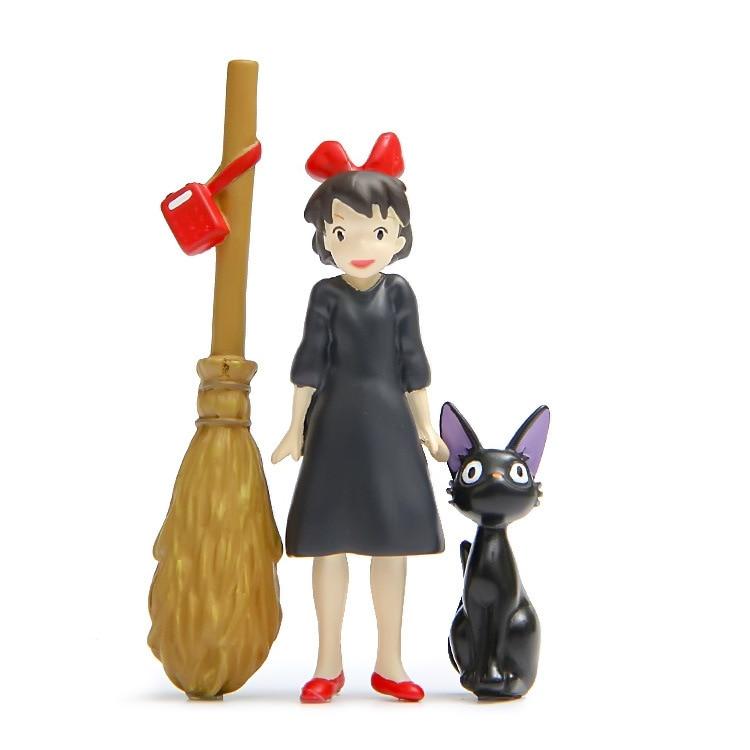 Japanese Hayao Miyazaki Cute Anime Kiki's Delivery Service Girl Kiki Blak Cat Jiji Action Figure Model PVC Doll Decoration