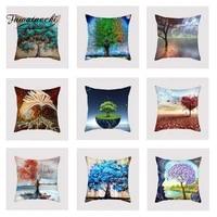 fuwatacchi colorful tree cushion cover blue purple soft throw pillow cover decorative sofa pillow case pillowcase