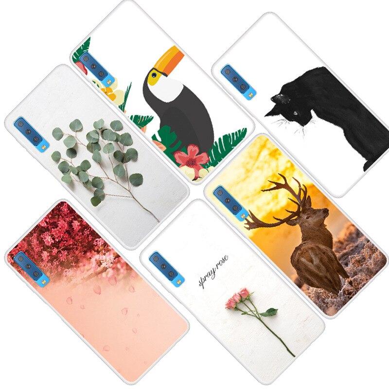 Cubierta de teléfono de TPU suave para el modelo samsung galaxy A7 2018 para SamsungA7 2018 pintado de silicona suave funda para Samsung A7 2018