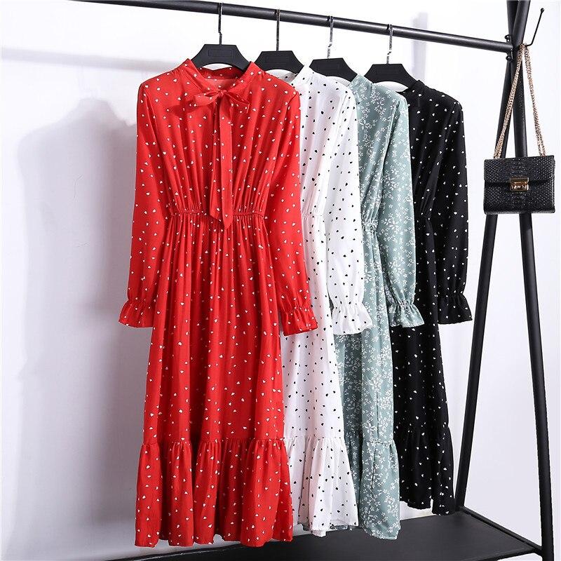 2019 осеннее женское платье для дам с длинным рукавом в горошек винтажное шифоновое платье-рубашка повседневное Черное Красное зимнее платье миди с цветочным рисунком