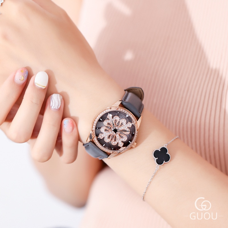 New Ladies Rotation Watch Women Rose Gold Rhinestone Casual Quartz Watches Fashion Leather Bracelet Clock Girl Gift reloj mujer enlarge