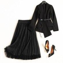 Femmes mode noir irrégulière asymétrique ceinture blazer + longue plissée maille TUTU jupe costume 2 pièces ensemble nouveau 2018 automne