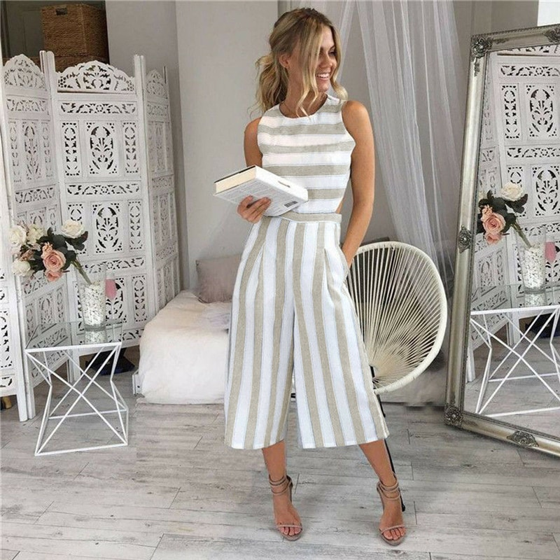 Womens Sleeveless Striped Jumpsuit Rompers Casual Office Long Wide Leg Pants Outfits Overalls Hollow Out Waist One Piece Clothes plus button front striped wide leg cami jumpsuit