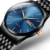 mens watches top brand luxury ultra thin male clock steel display week date fashion quartz watch business men wrist watches