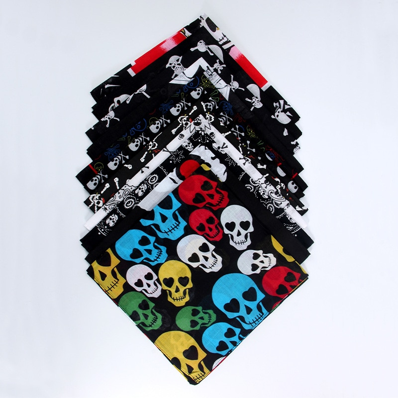 100% algodão crânio bandana lenço bicicleta motocicleta headwear máscara ciclismo balaclava cabeça cachecol ao ar livre