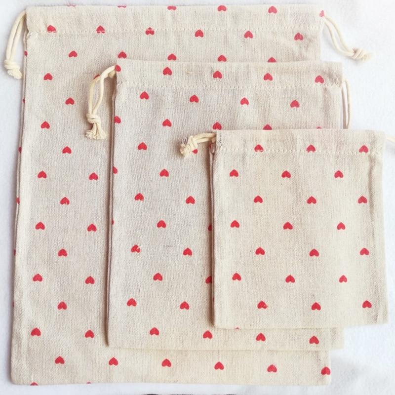 Bolsa de cosméticos con cordón de lino de algodón YILE Red Love Heart 8614L