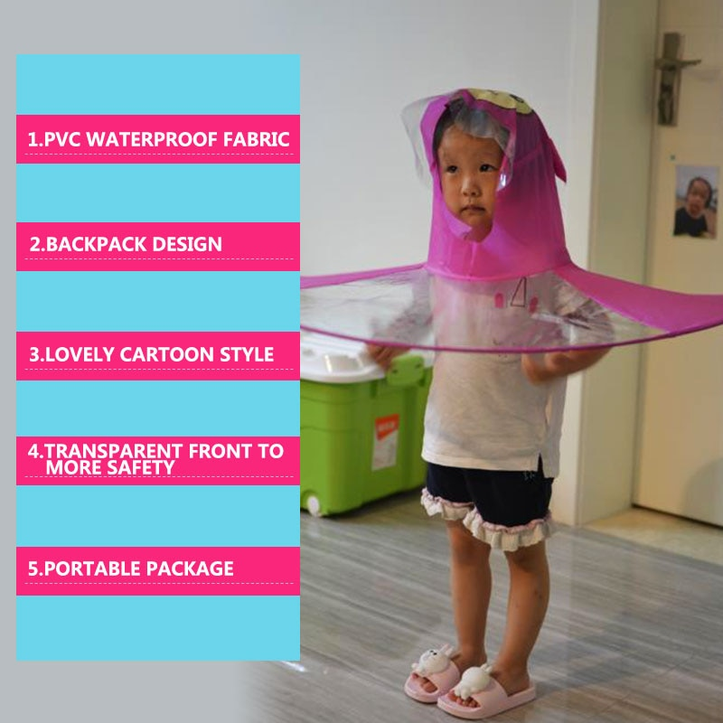 QIAN Children's Raincoat Transparent UFO Raincoats Hands Free Rain Poncho Baby Funny Duck Rain Coat Rain Cover Raincoat for kids enlarge
