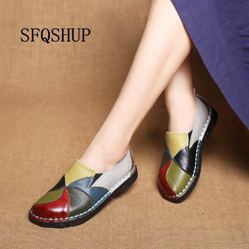 Mocasines de mujer 2020, zapatos planos de punto con parches, zapatos planos de verano para mujer, mocasines de cuero genuino de colores caramelo suaves