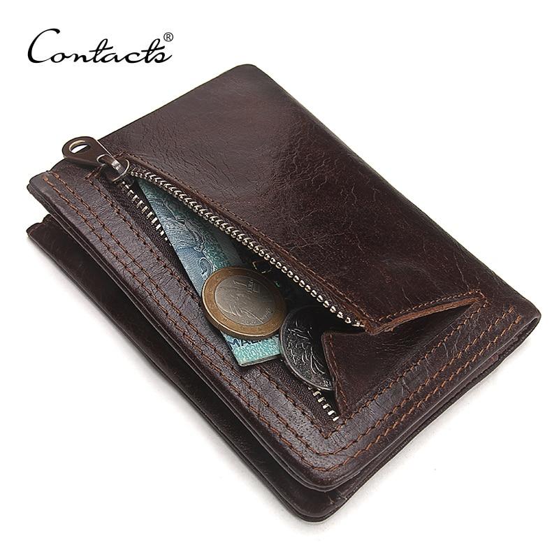CONTACT'S Männer Casual Echtem Rindsleder Brieftasche Vintage Design Kleine Geldbörse Männlichen Kurzen Schlanken Zipper Geldbörsen Dropshipping