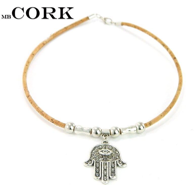 MB Cork Fatima ожерелье, португальский пробка, рука Фатимы, глаз Божия, ручная работа, модная, оригинальная, ручная работа NE-1030