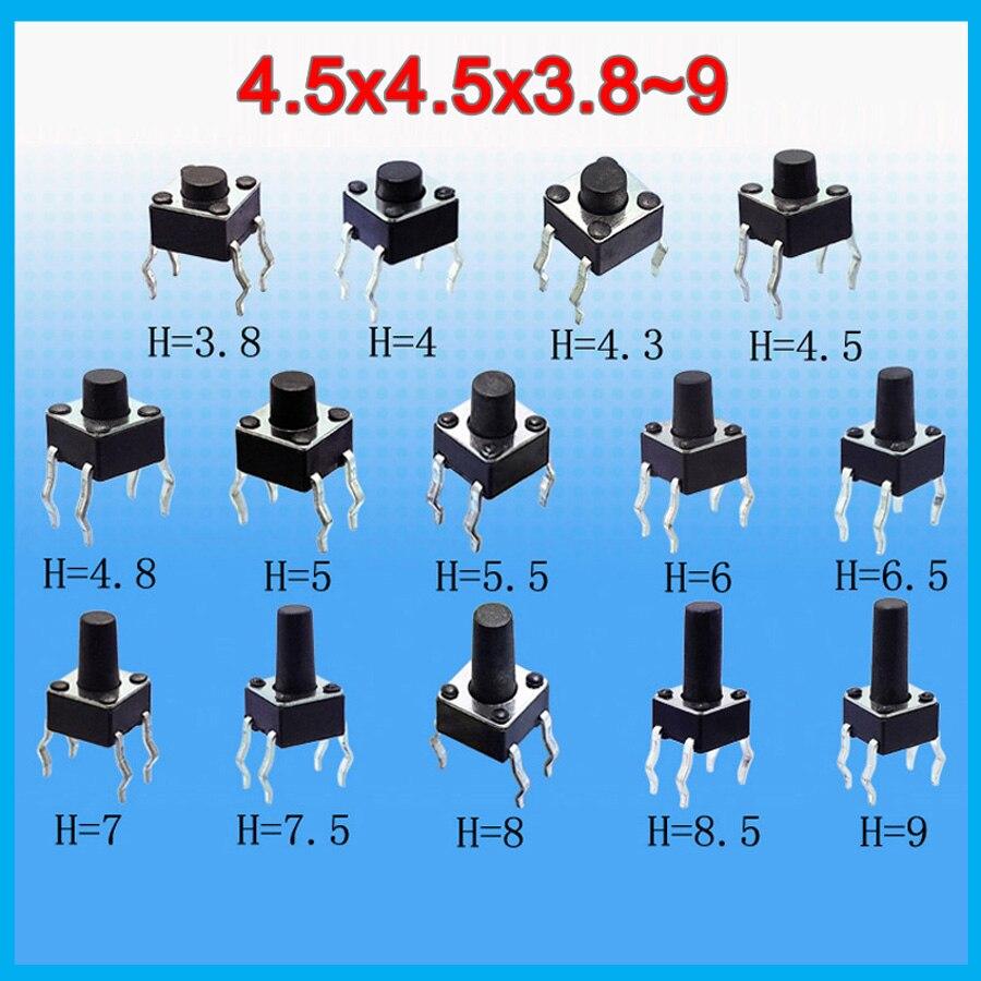 14valuesx10 Uds = 140 Uds tacto interruptor Kit de 4,5*4,5*3,8 ~ 9mm botón pulsador de inmersión de 4,5x4,5mm Micro interruptor
