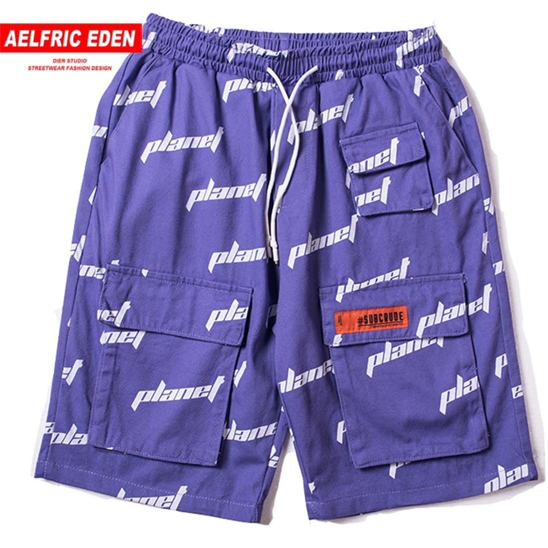 Aelfric Eden Letter Full Print Fashion Short Jogger 2019 Hip Hop Shorts Summer Casual Streetwear Drawstring Cargo Knee Length