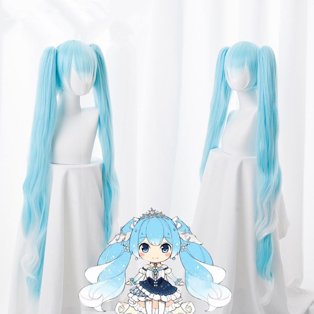 Peluca de Cosplay Miku con diseño de nieve VOCALOID Hatsune Miku de 120cm de largo con coletas de pelo sintético azul claro para mujer y Niña