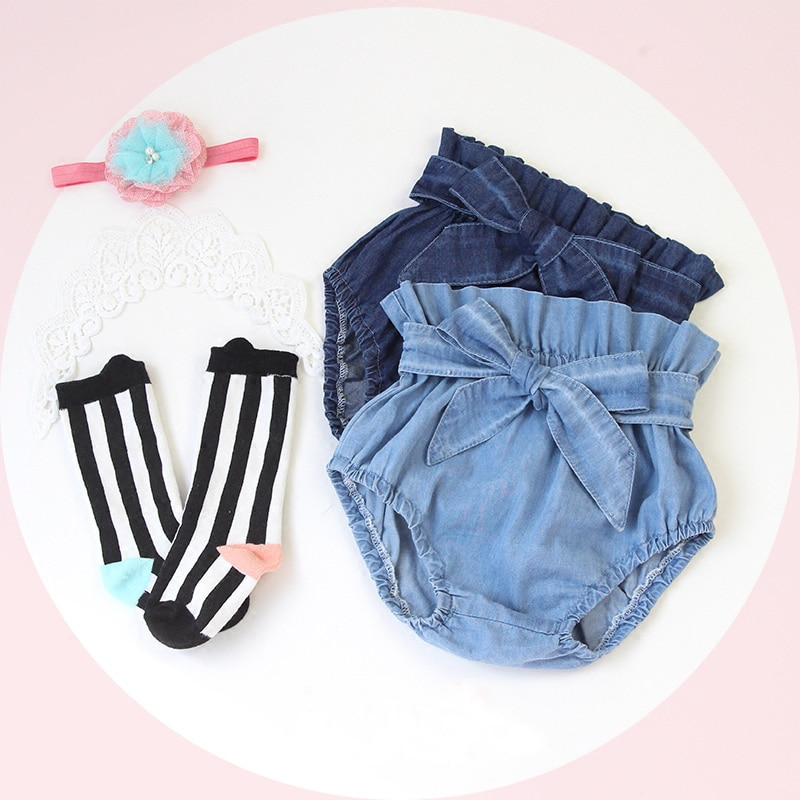 baby girls boutique clothing girls kid back to school outfits girls car camper school clothing with pink ruffle shorts with bows New Jeans Ruffle Bloomers Toddler Brand Baby Girl PP Shorts Boutique Clothing 2020 Summer Girls Clothes Diaper Cover For Baby