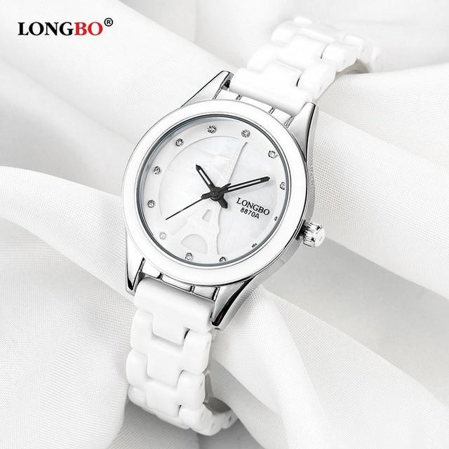 Relojes de pulsera LONGBO de lujo para parejas de hombres y mujeres, Reloj de moda Geneva, correa de cerámica blanca dorada, Reloj de Mujer