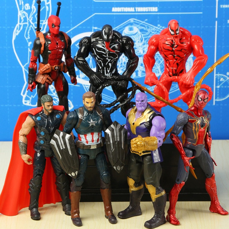 Marvel Avengers Venom Red Venom Carnage  Deadpool Action Figure  Loki Ant-Man Vision Black Panther Captain Marvel Figuras Toys