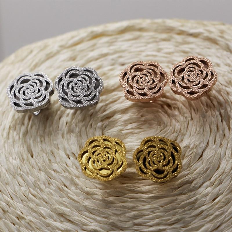 Pendientes de tuerca de acero de titanio Color oro Camelia opaco de moda/Color oro blanco/Color oro rosa