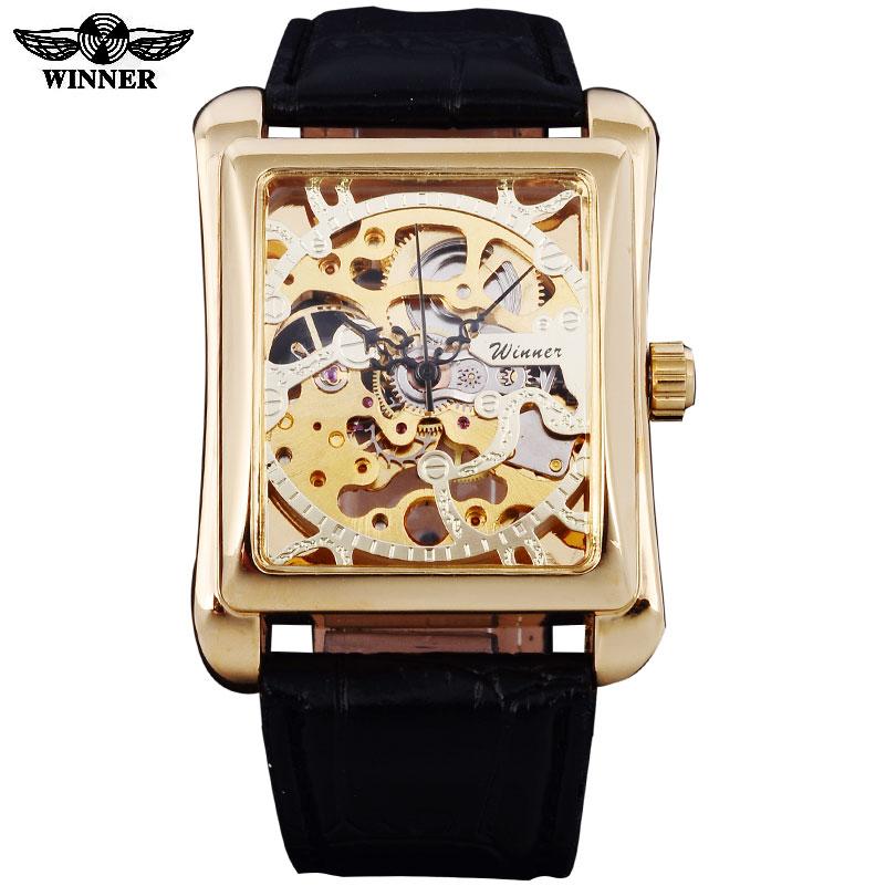 2016 Бренд Winner часы мужские прямоугольные механические наручные часы с ручным заводом мужские золотые часы с циферблатом из искусственной ко...