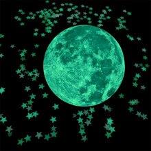Autocollants muraux 3D arbre Fluorescent 3cm 50/100 pièces   Autocollants muraux lumineux pour chambre denfants, amour C101, décoration de maison