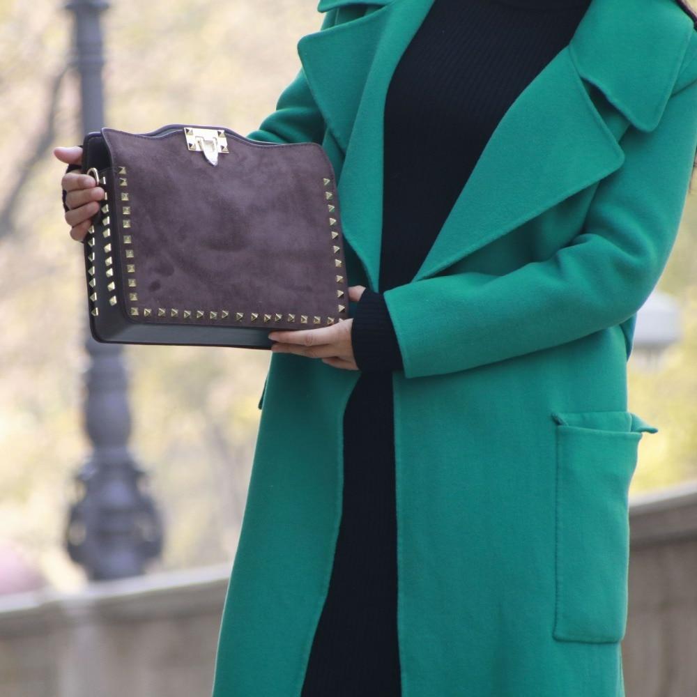 موضة برشام حقيبة كتف عادية جلد الغزال المرأة حقيبة \ حقيبة يد الإناث بسيطة حقيبة كروسبودي السيدات رفرف دراجة نارية حقيبة ~ 21B31