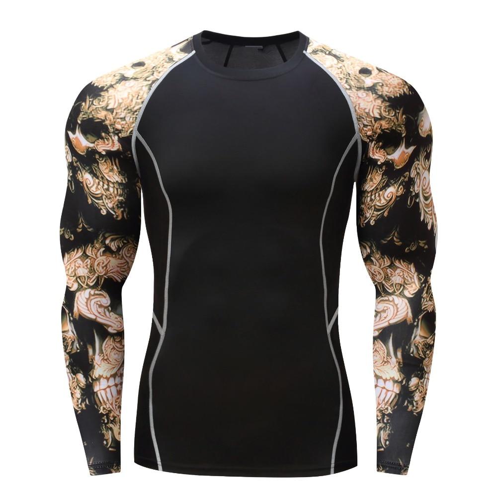 Новая компрессия мышц для мужчин, плотная футболка с длинными рукавами, двусторонняя печать, ММА Рашгард, для фитнеса, базовый слой, для поднятия тяжестей