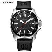 SINOBI Men Watches Top Brand Luxury Mens Fashion Black Silicone Quartz Watch Military Watches Waterproof Relogio Masculino 2019