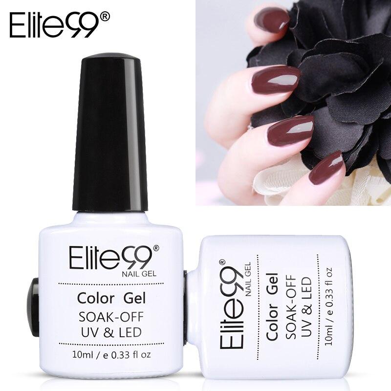 Elite99 Coffee Brown Colors Series Gel Nail Art Manicure Soak Off Primer Top Base Coat Needed UV LED Gel Polish 10ml All 12pcs