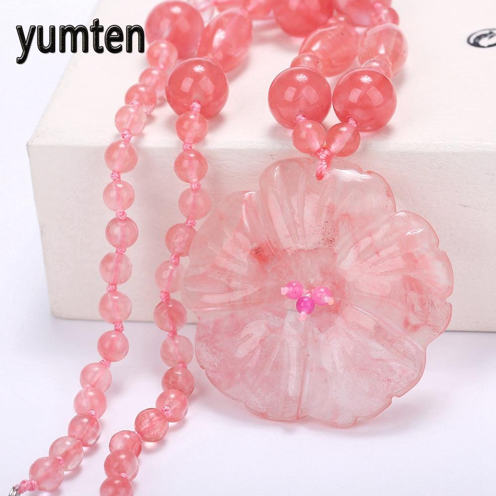 Натуральный ручной резной китайский розовый кулон ожерелье для женщин ювелирные изделия вишневый кварц цветок кулон ручной резной Кристал...