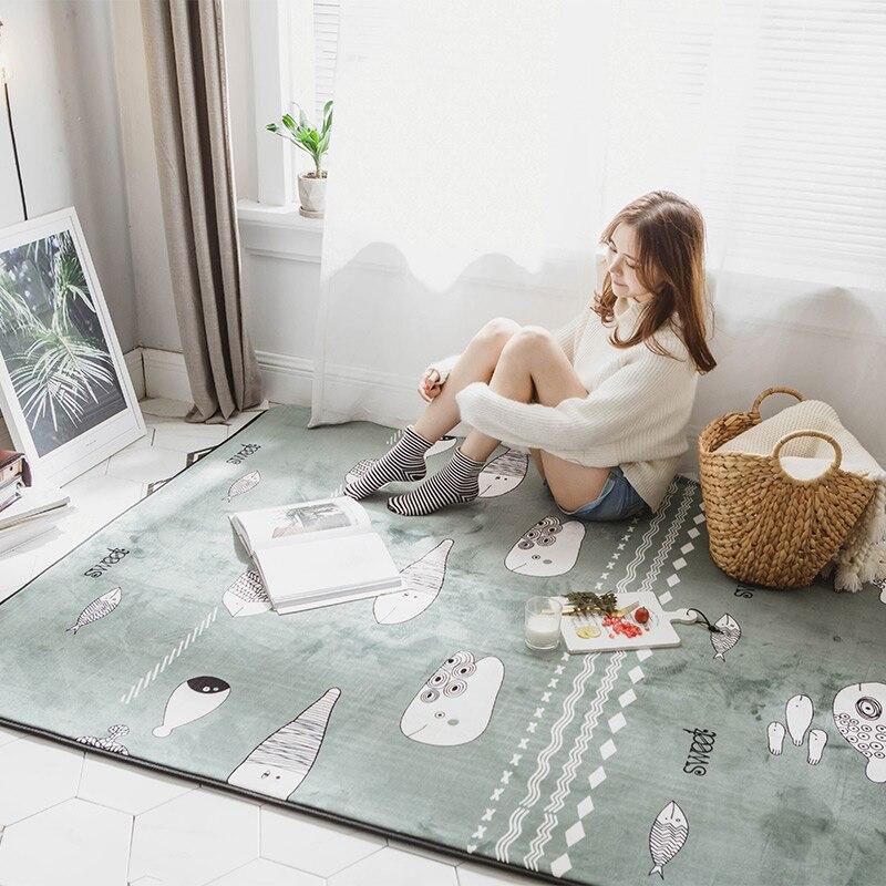سجادة عالم السمك الكرتونية ، ديكور لطيف ، غرفة نوم ، غرفة معيشة ، سجادة أرضية منزلية كبيرة ناعمة