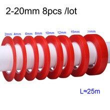 NOVFIX-Film rouge Double face 8 pièces/lot   Bande adhésive transparente, pour iphone ipad HTC batterie écran LCD, 2-20mm