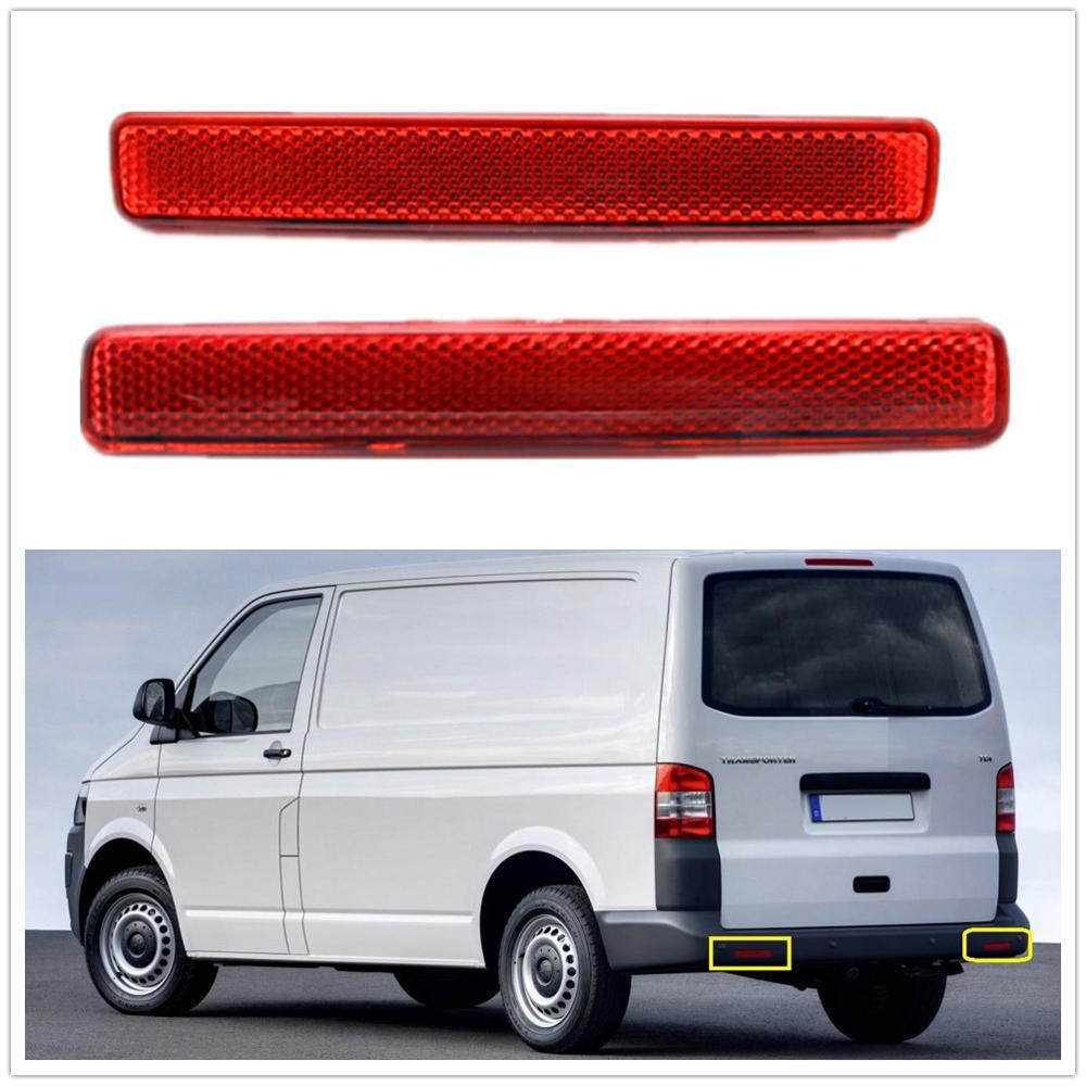 2Pcs Left & Right For VW Transporter T5 2003-2009 Red Rear Bumper Reflector Tail Light Bars Brake Parking Warning