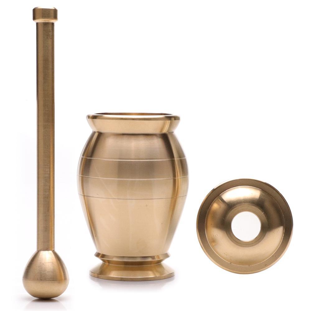 Juego de mortero de latón 100% con tapa de almacenamiento, molinillo de pimienta y sal, molinillo de hierbas y especias tradicional, triturador de pastillas