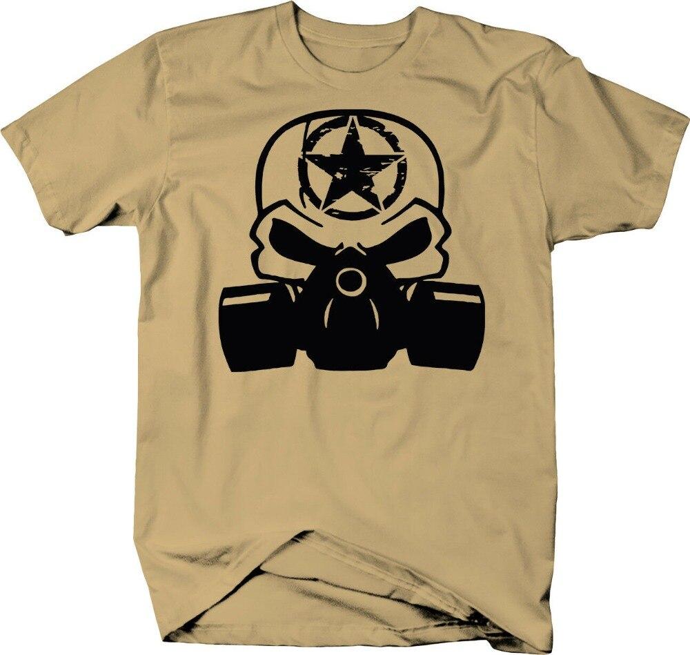 Máscara de Gas Punisher calavera Oscar Mike Zombie Color militar Homme 2019 nuevo hombre ropa de algodón de manga corta Camisetas diseño camisa