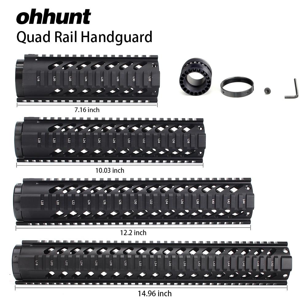 "ohhunt Tactical 7"" 10"" 12"" 15"" Free Float Quad Picatinny Rail Handguard Installs On Standard Carbine .223 5.56 AR15 M16 Rifles"