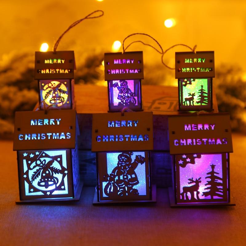Weihnachten Ornamente Kleine Holz Haus LED 7 Farben Decor Kerze für Weihnachten Party Weihnachten Dekorationen für Zu Hause Im Freien