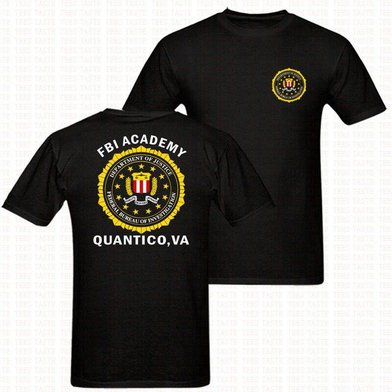 Fbi Academy Quantico Va policía Departamento de Estados Unidos ejército camiseta alta calidad 2019 verano nuevos trajes para hombre cuello redondo Tee