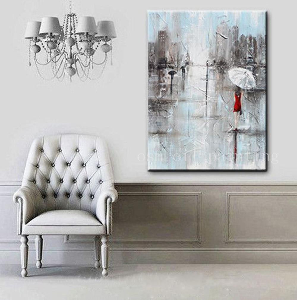 Arte de pared fina hecho a mano pintura abstracta chica Paraguas Blanco vestido rojo gris azul ciudad lluvia cuchillo pintura al óleo sobre lienzo