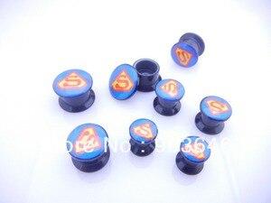 Free Shippment Lot 50pcs  Body Jewelry -SUPERMAN  Ear Plug Flesh Tunnels Screw on  Expanders Earlets Gauges 8mm up to 20mm