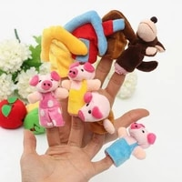 8 pcsset animal finger puppets 3 little pigs fairy tale hand puppet plush toy cartoon cute boll children gift toy decoration