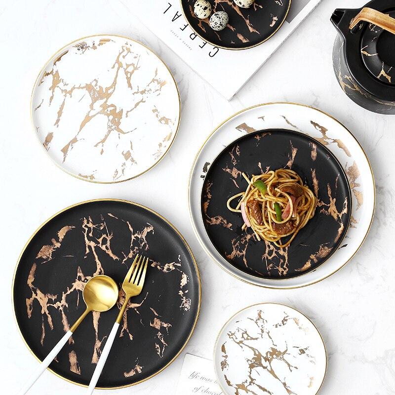 Plato de ensalada nórdico Ins Gold Inlay, plato de cena con estampado de mármol, platos para carne, bandeja de cerámica de Hotel para el hogar, platos de comida, triangulación de envíos