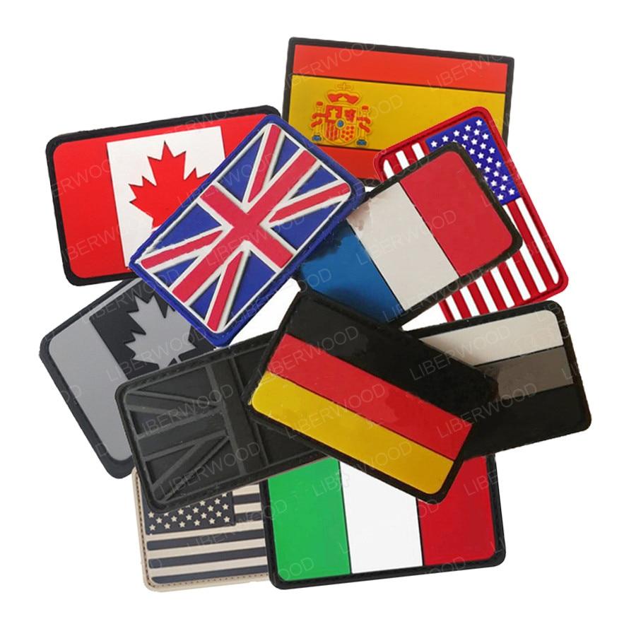 Пластырь из ПВХ для флага Великобритании, Испании, Франции, Германии, Италии, США, США, Канады, флага, военные пластыри, тактические бейджи, Резиновые Патчи