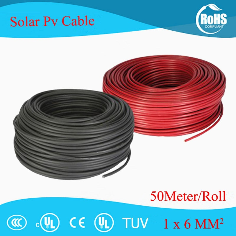 50 metros lote 6.0mm sq 10awg solar pv cabo de extensão, xlpe solar pv cabo de cabo, tuv aprovação cabo solar