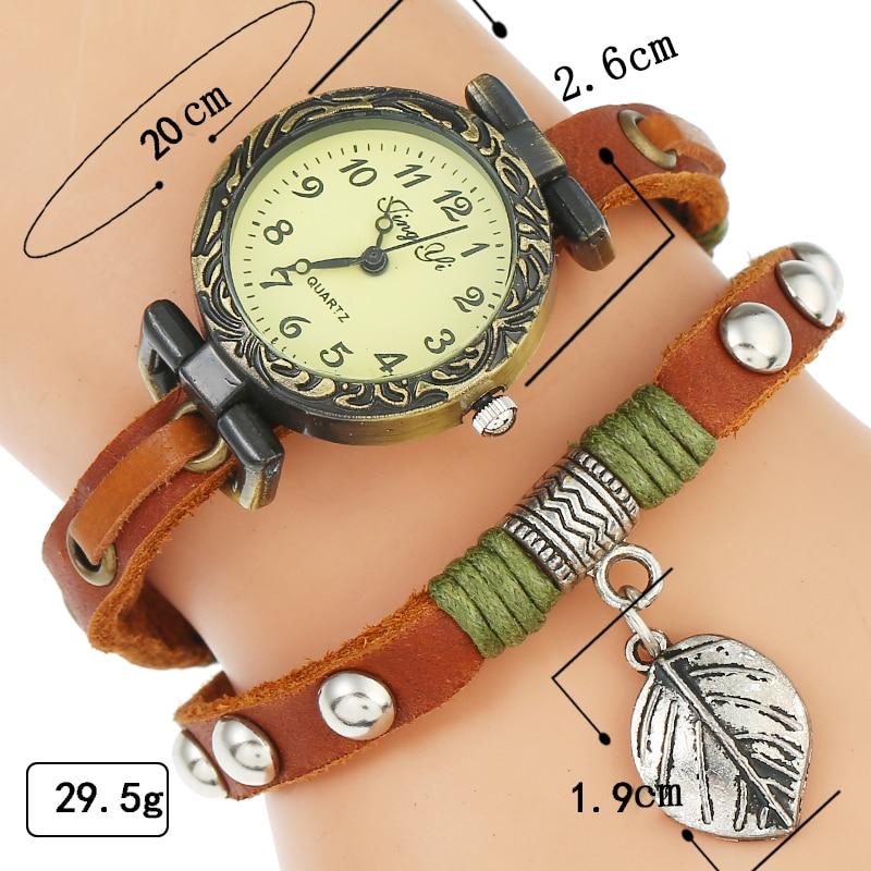 Top Genuine Leather Watch Woman Retro Bronze Rim Rectangular Dial Leaf Pendant Wristwatch Woman Lady Casual Dress