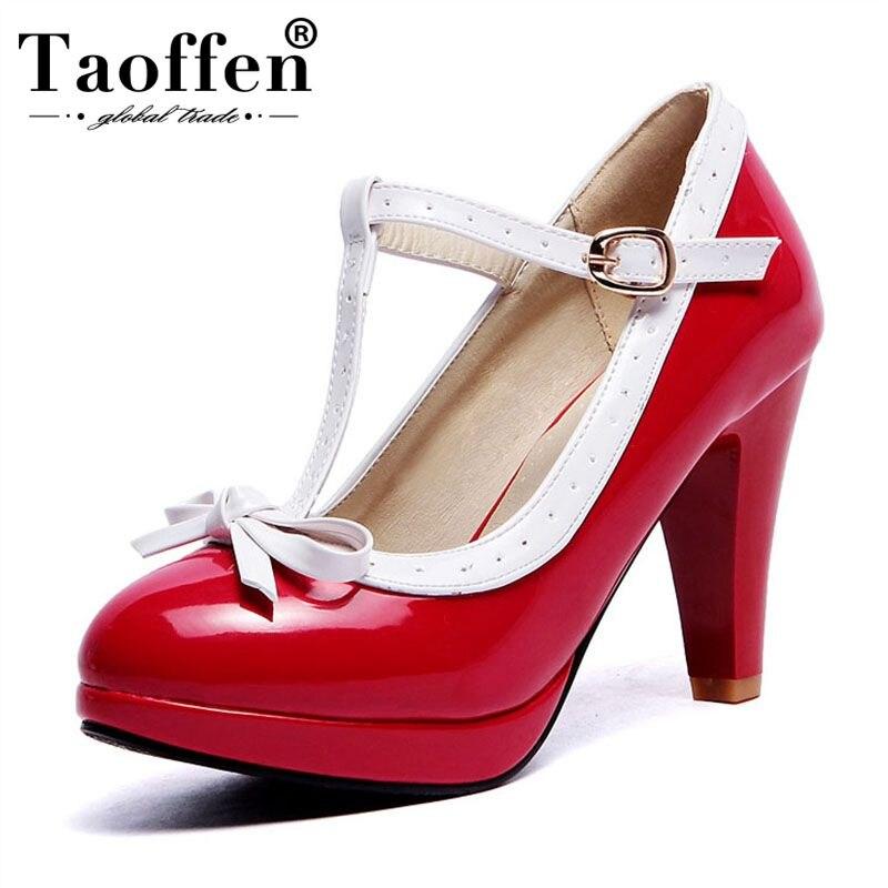 TAOFFEN, zapatos de tacón alto de talla grande para mujer de 32 a 48, zapatos de tacón con correa en t para mujer, zapatos de tacón con lazo de plataforma para mujer, calzado de trabajo diario
