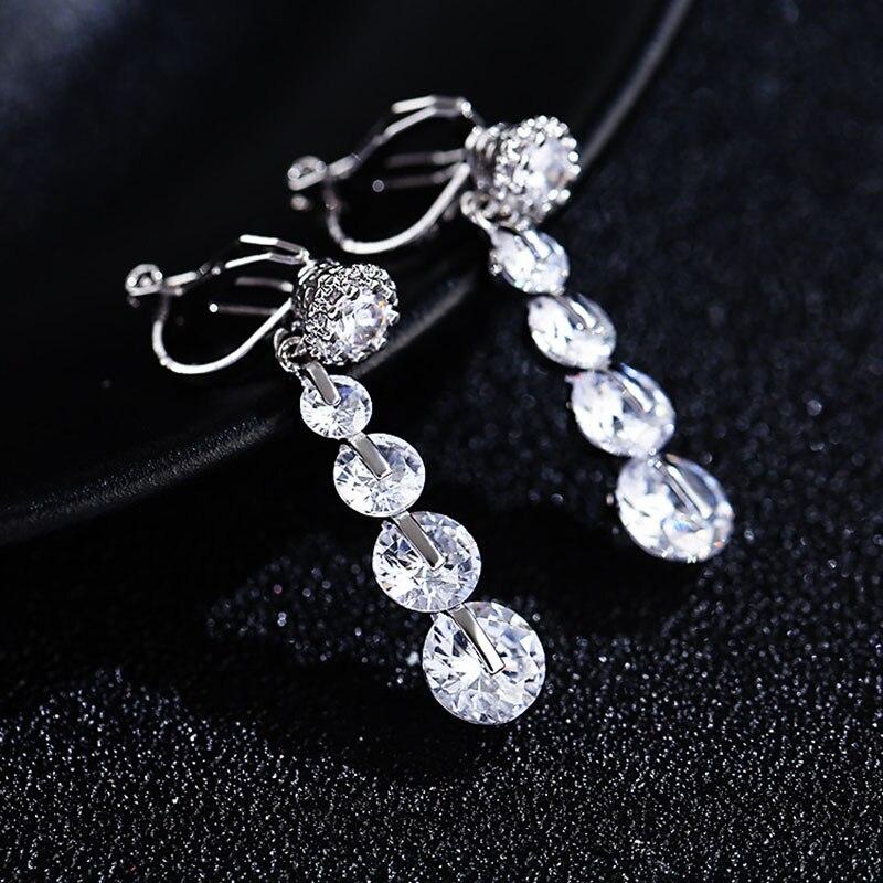 Pendientes de moda de lujo Vintage de zirconia cúbica, pendientes de Clip sin perforación para mujeres, joyería fina, accesorios Brincos de alta calidad