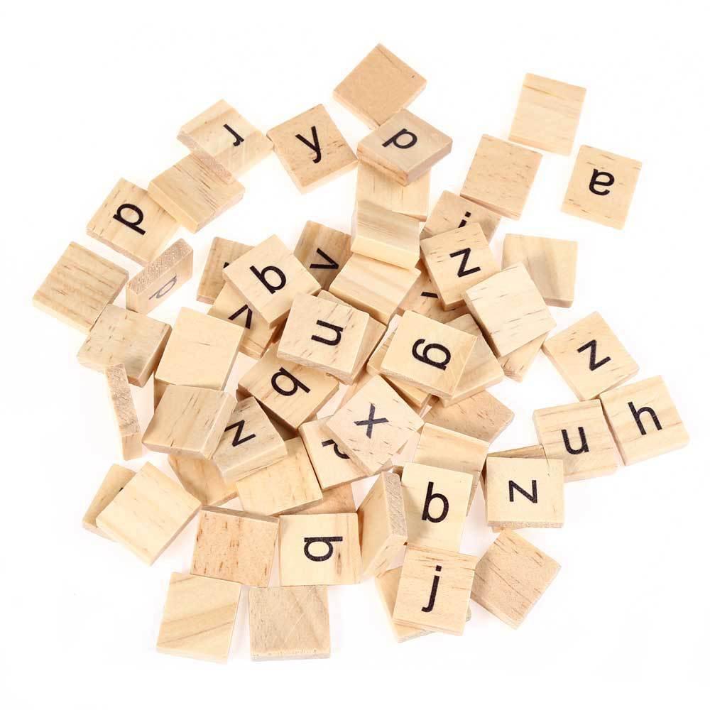 100 unds/pack 18*20MM rompecabezas del alfabeto inglés de madera chico Año nuevo regalo casamiento cumpleaños decoración de mesa de fiesta accesorios del Día de San Valentín