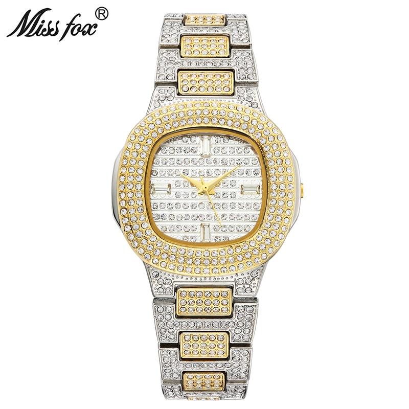 Reloj de cuarzo MISSFOX Bussiness, famosa marca Bu, reloj de acero inoxidable con diamantes, reloj dorado para mujer, reloj de diseño para mujer