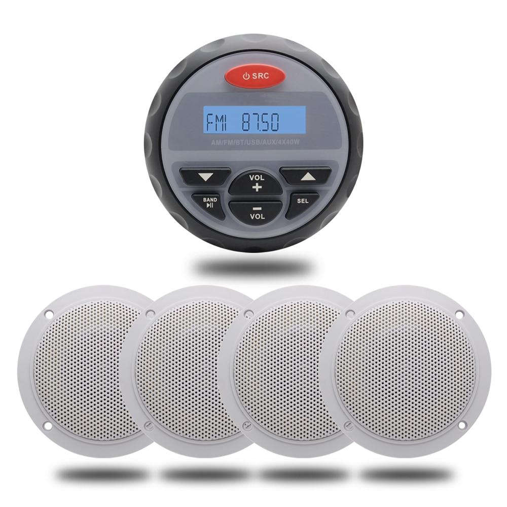 Wasserdicht Gauge Marine Bluetooth Stereo Radio Motorrad Audio Boot Auto ATV RZR Golf Warenkorb MP3 Player + 4 zoll Marine lautsprecher