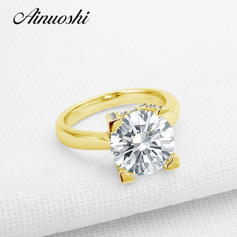AINUOSHI, anillo de compromiso de lujo de 4 quilates de oro sólido de 14 K, anillo de compromiso solitario, banda nupcial de alto ajuste, anillo de boda de diamantes SONA para mujer